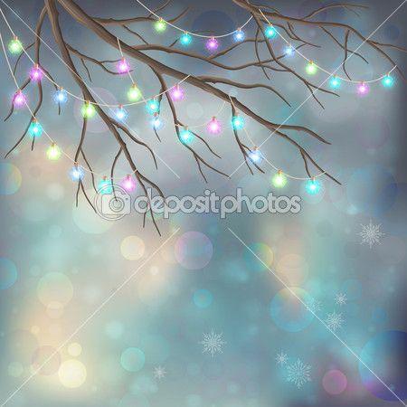 Рождественские лампочки на фоне ночью Рождество вектор. ветви деревьев, светящиеся декоративные гирлянды, снежинки, красочные Боке на фоне абстрактных праздник — Векторная картинка #35248549