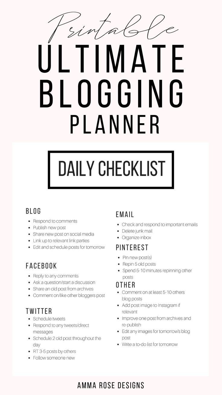 Printable Blog Workbook, Blog Planner, Blog Post Planner, Business Planner, Blog Organizer, Printable Planner , Blogger Planner