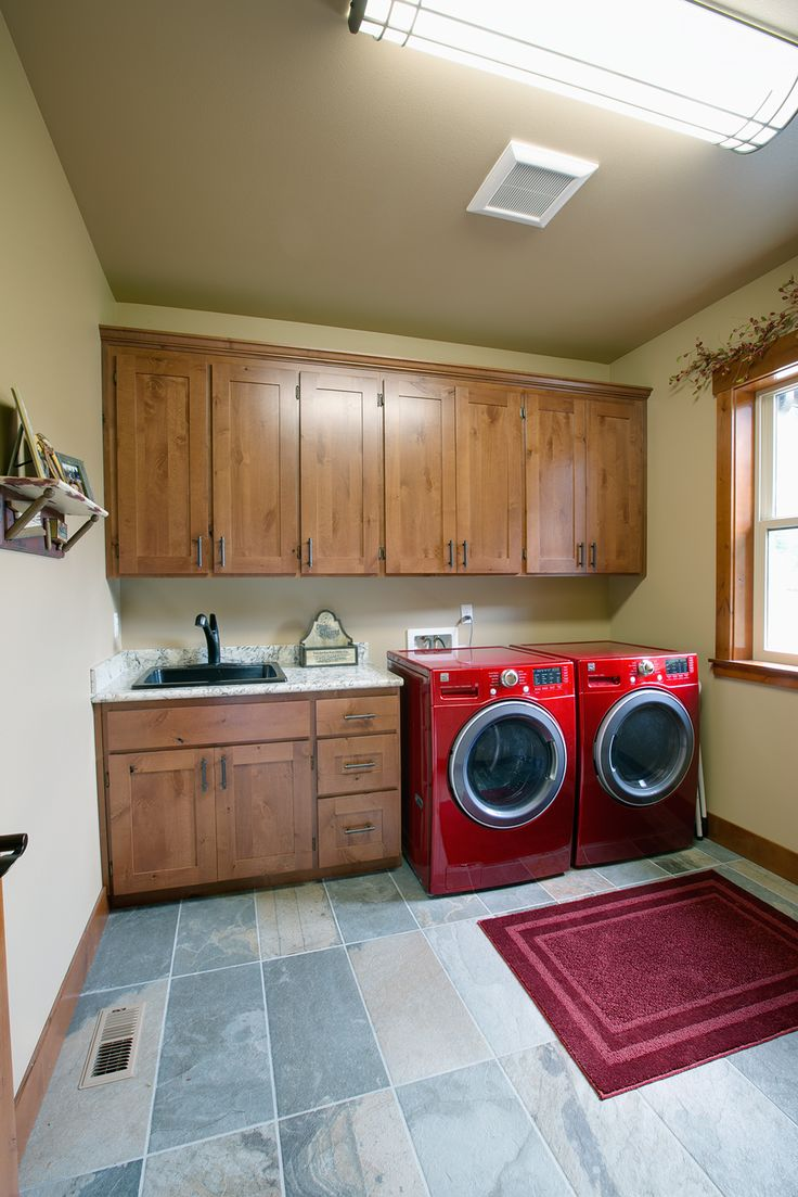 bring the rustic to the utility room space and storage for the costco runs red washer and dryer to give this laundry a fun yet functional use
