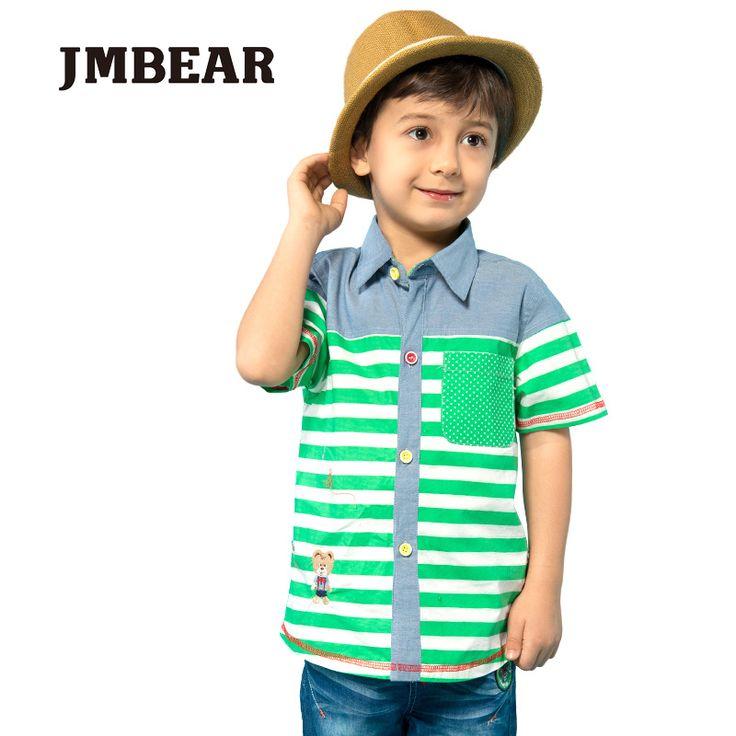 JMBEAR мальчиков рубашки детей одежда детей блузки полосатые рубашки с коротким рукавом тканые летом 2016