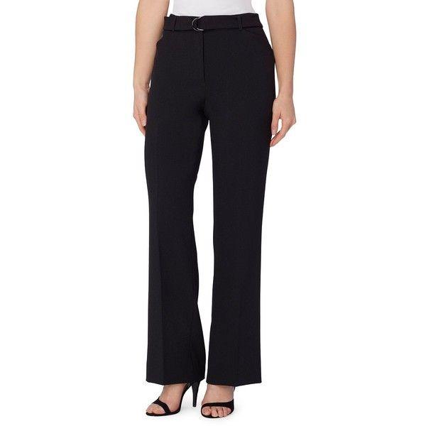 Tahari Arthur S. Levine Women's Straight-Leg Dress Pants ($99) ❤ liked on Polyvore featuring pants, navy, straight leg pants, navy suit pants, pleated trousers, dress pants and navy blue dress pants