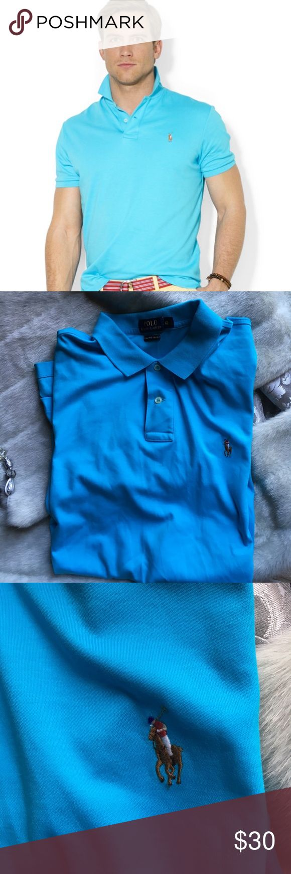 Polo Ralph Lauren Pima  soft touch aquamarine  XL Polo Ralph Lauren Pima  soft touch aquamarine blue men's sz XL From Polo Ralph Lauren, this polo shirt features: Ribbed polo collar. Short sleeves with ribbed armbands. Ralph Lauren's multi-colored signature embroidered pony at the left chest. Two-button placket. Tennis tail. 100%. cotton. Machine wash Polo by Ralph Lauren Shirts Polos