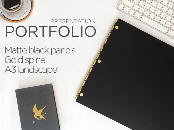 Portfolio Black Matte A3 Landscape with Gold Hinges - Portfolio Book Case A3 Portfolio Presentation book Screw Post Portfolio Cover