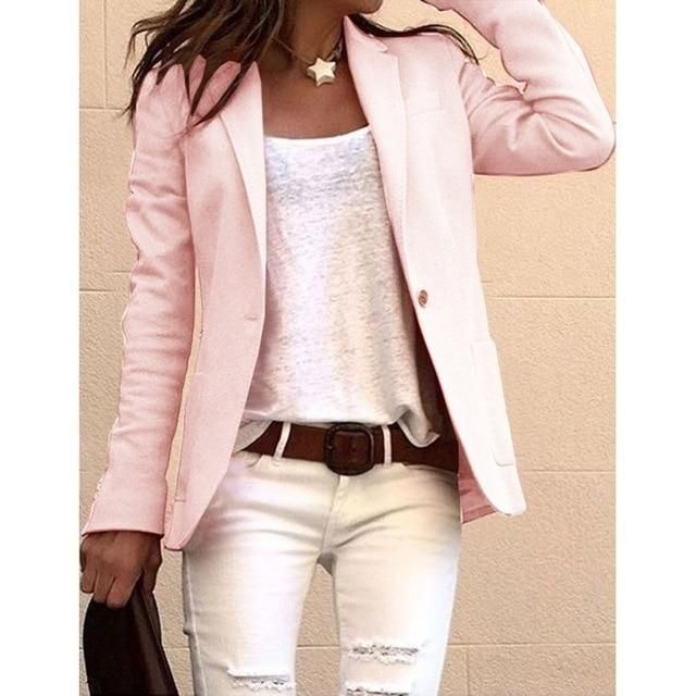 Fahion Long Sleeve Candy Colors Slim Office Blazer Mujer 2019 Autumn Casual Thin Blazers Women Suit Jackets Pink Coat 3