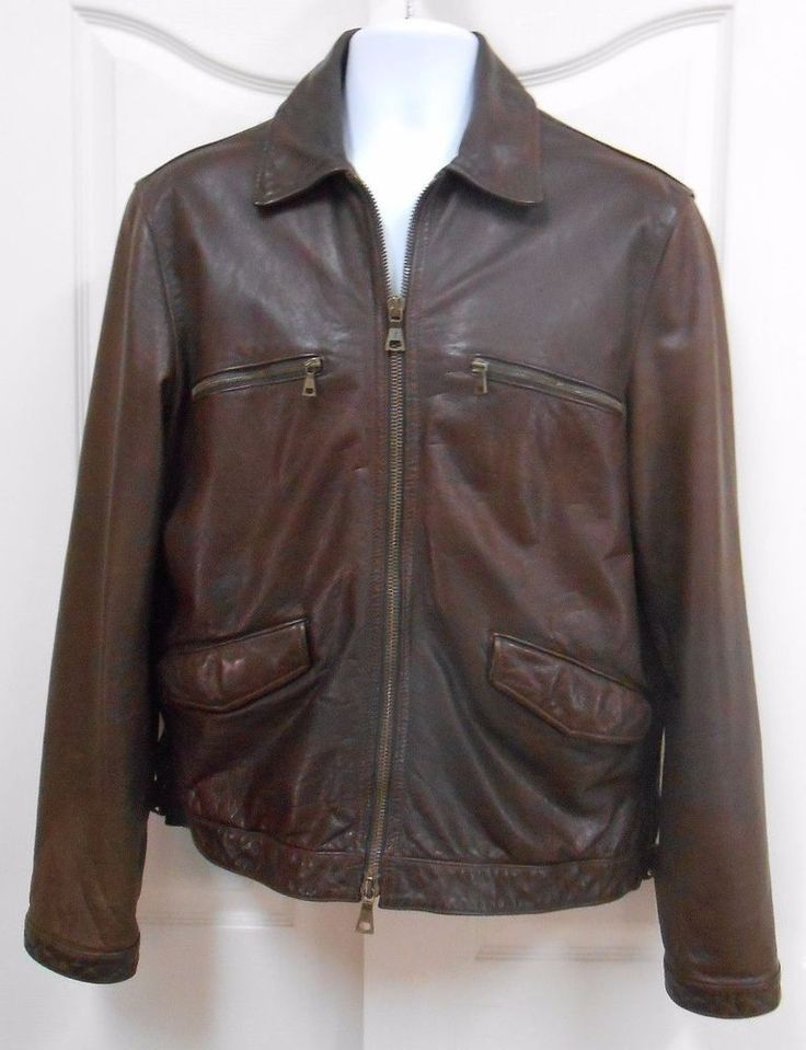 JOHN VARVATOS BROWN LEATHER JACKET MENS 54 NICE