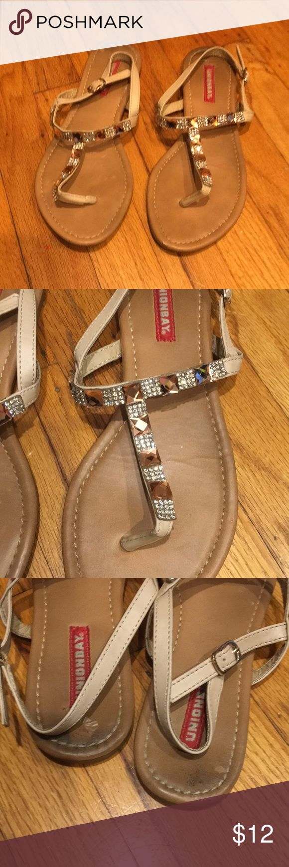 Cream sandals with pink and clear stones Darling summer flats that sparkle a mile away. UNIONBAY Shoes Sandals