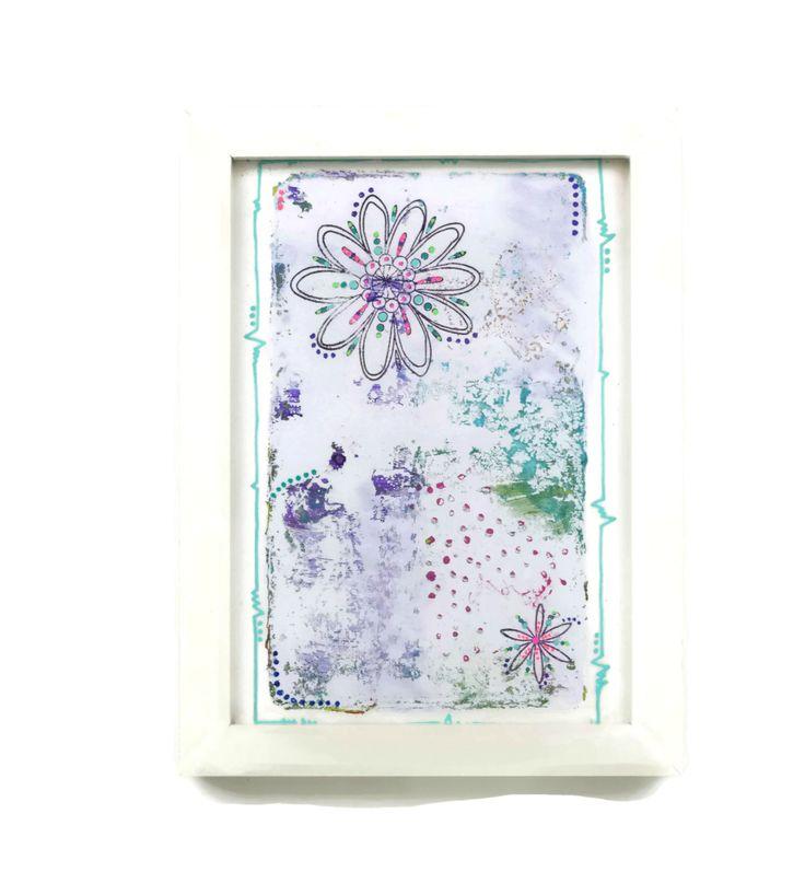Cuadro de colores. Flores abstractas. Pintura moderna. Cuadro minimalista. Decoración moderna. Flores minimalistas. Decoración alegre. de XanaLuStudio en Etsy
