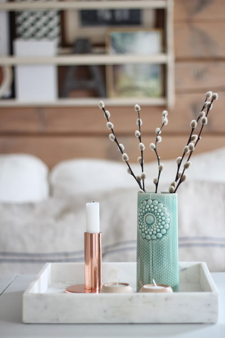 marble tray, copper candle holder, vase