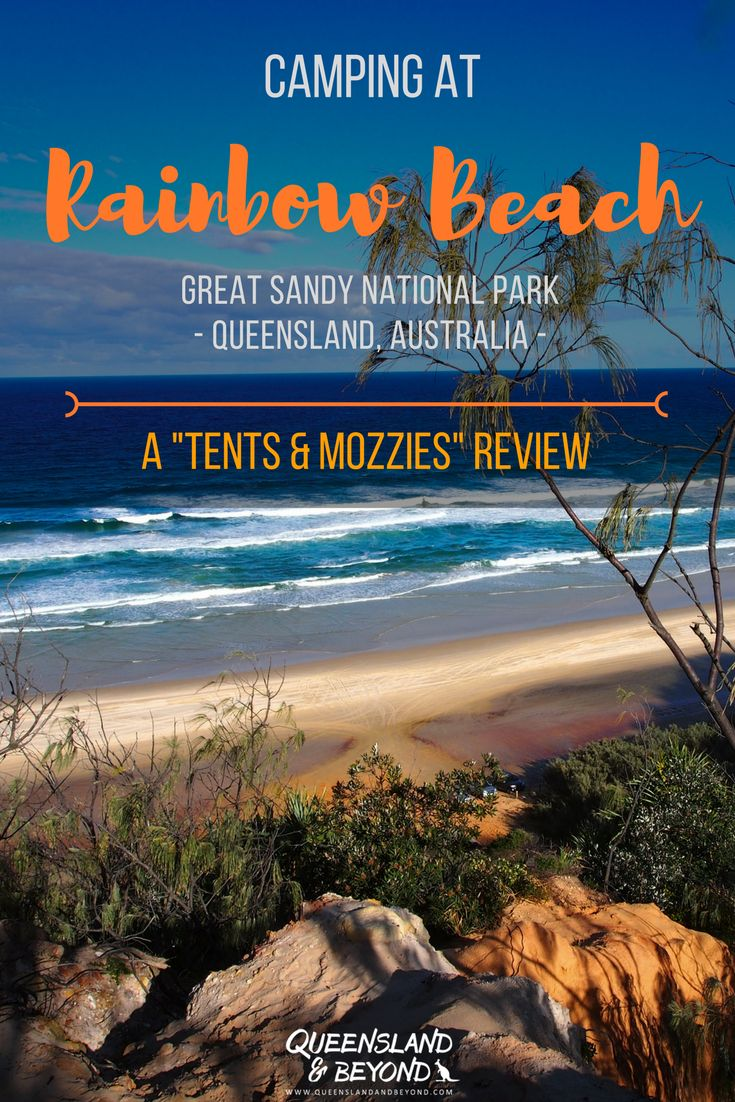 """If you want to explore the coloured cliffs of Rainbow Beach in sunny Queensland for a few days, it's best to take your 4WD and camp. Freshwater camping area has basic facilities so you don't have to worry about toilet access! A """"tents & mozzies"""" review of what to expect at Freshwater campground. 🌐 Queensland & Beyond #australia #rainbowbeach #camping #campground #queensland"""