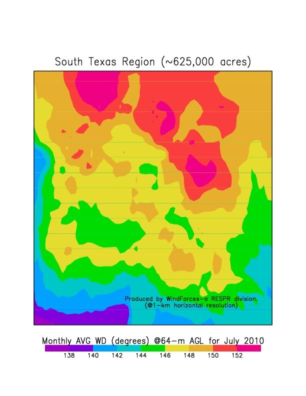 1-km resolution wind direction map developed for a region in southern Texas, using RESPR atmospheric simulation technology. No site measurements were required to develop this map.