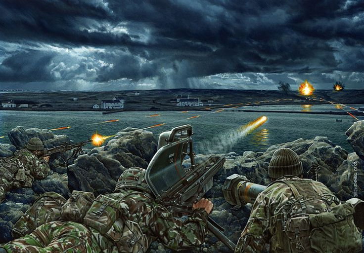 British troops firing rocket missiles at Argentinian positions, Falkland War