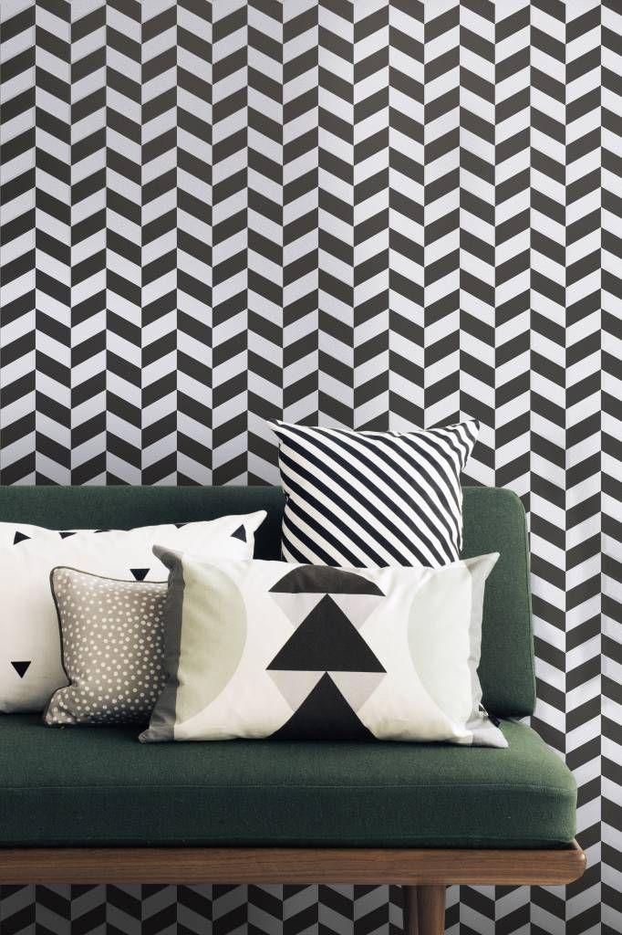 Ferm Living Behang Angle zwart wit papier 10x0.53cm - wonenmetlef.nl