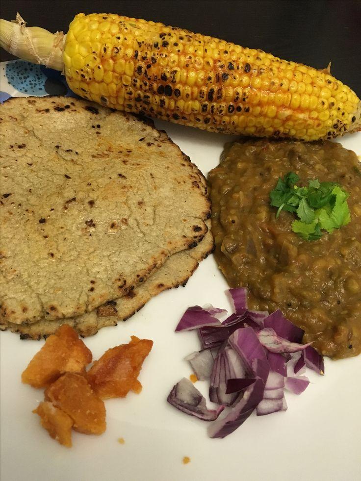 Mung nu shak, juwar na rotla with roasted butter corn & jeggry