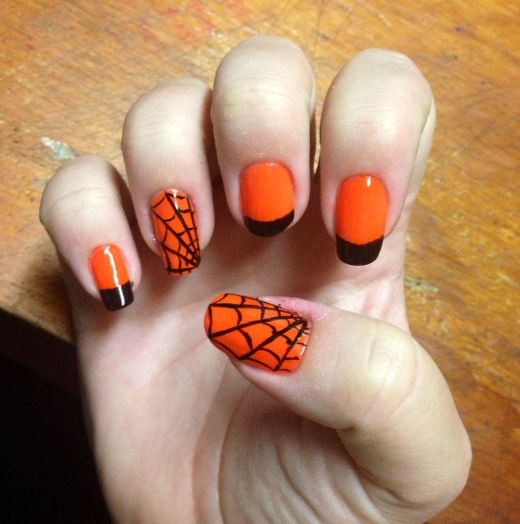 71 best my nails images on pinterest my nails china glaze and halloween nail art neon orange with black tips and a few spider web designs prinsesfo Image collections