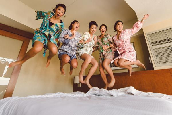 Getting married doesn't mean you always have to be an adult, right? There's nothing like carefree innocence. Throw it back to your slumber party days, and jump on the bed with your best friends in excitement for the big day.Related:25 Little Reasons to Appreciate Your Best Friends