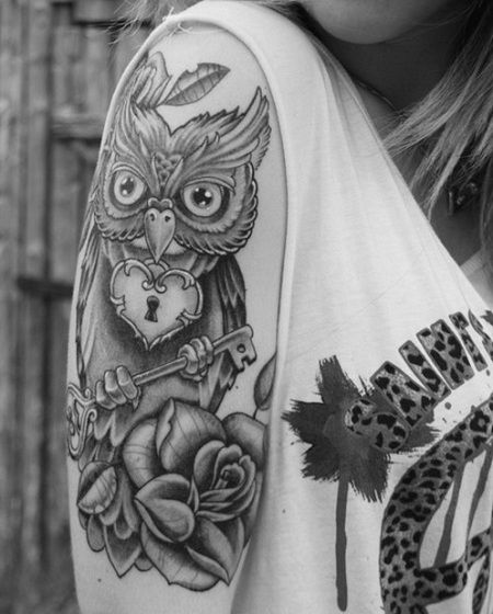 Vintage Tattoos for Women | sleeve tattoo for girls Owl Rose Tattoo For Girls