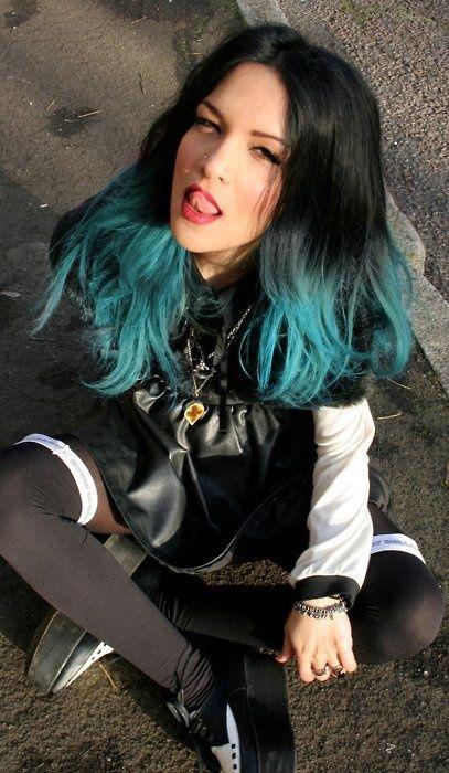 black hair with teal dip dye wwwimgkidcom the image