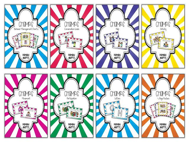 Colorful and Fun CHAMPs Charts for Behavior Management.  Each card has wonderful clipart to assist students in making connections.  Perfect for visual learners!