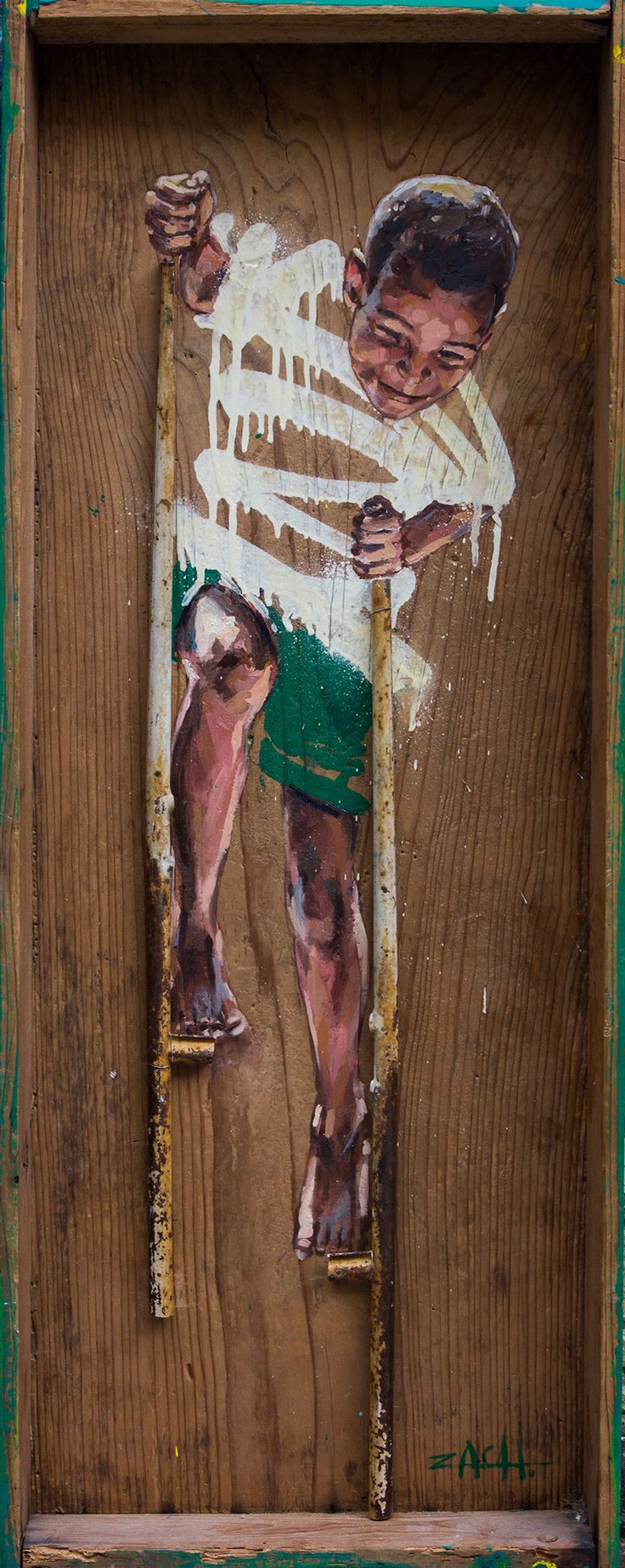 Boy on stilts, mixed media on found object, 2015  inspired by an original martha cooper photograph from Haïti