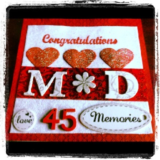 Custom Made Anniversary Card ...can be purchased at www.facebook.com/MariasDesignerCreations.