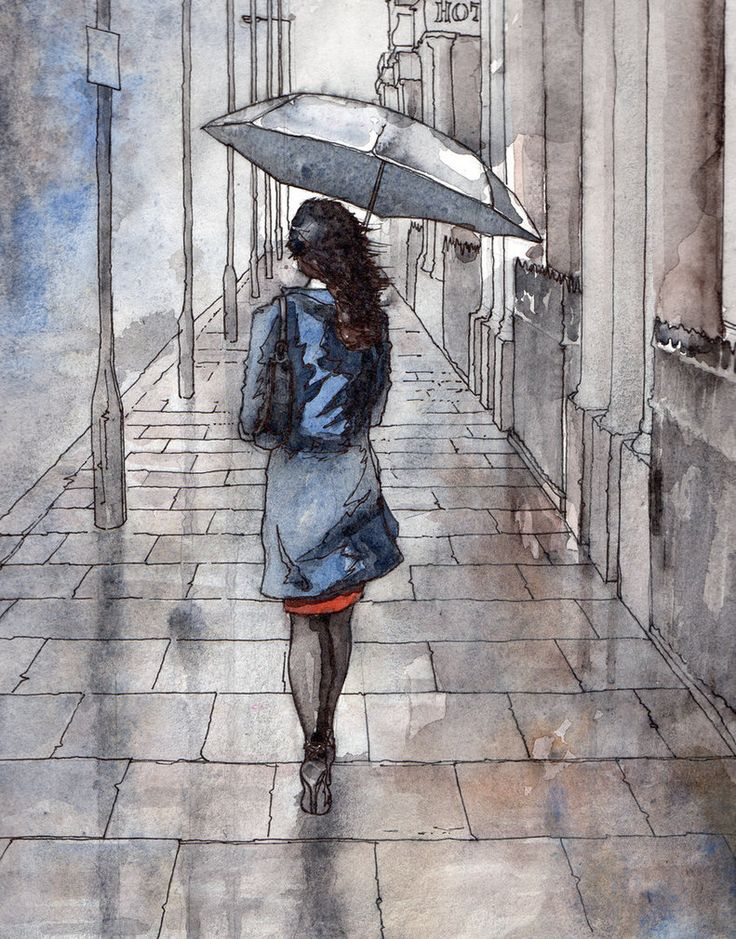 Girl with umbrella by ~Ardillas. Watercolour on paper - with ink lines .... girl walks along pavement through the rain London - in the street where I live