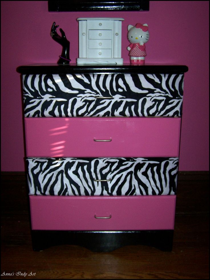 Upcycled dresser...love this, but I would do purple most definitely... Purple zebra print..