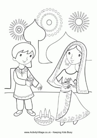 Children Lighting Diya Colouring Page