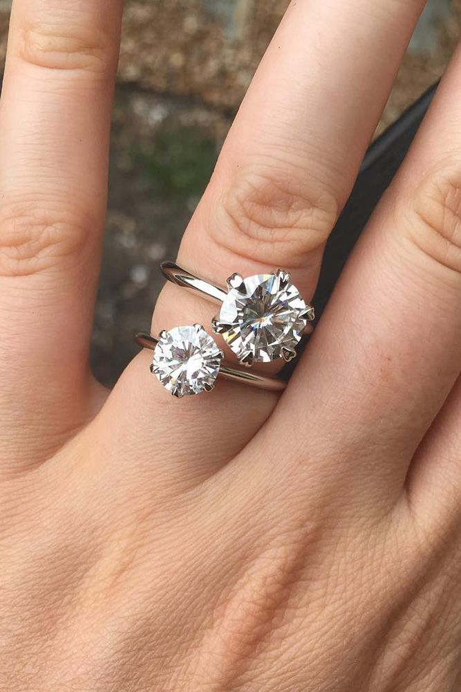 21 Budget-Friendly Engagement Rings Under $1,000 ❤️ cheap engagement rings moissanite solitare tound cut doamore ❤️ See more: http://www.weddingforward.com/cheap-engagement-rings/ #weddingforward #wedding #bride
