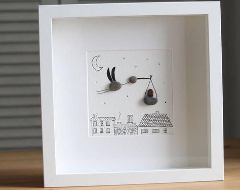 Levering Stork Pebble Art - levering ooievaar - nieuwe kunst - Home decor - cadeau voor haar geboren baby cadeau - cadeau voor moeder - baby cadeau - kiezel