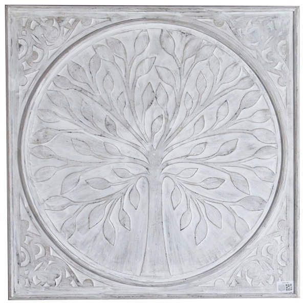 Luxen Home Tree Inlay Square Metal Wall Panel Metal Wall Panel