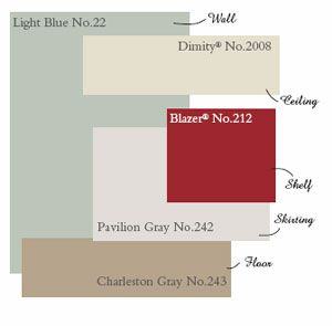 The Designer Insider: Paint Color Help: Farrow & Ball's New Palettes!    This group has a coastal feel with a weathered faded look. Think about coastal inspired colors, rest, relaxation and driftwood and you will be inspired by this scheme. Try other colors such as: Skimming Stone, Elephant's Breath, Blue Gray, Raddichio and London Clay for another grouping with the same feel.