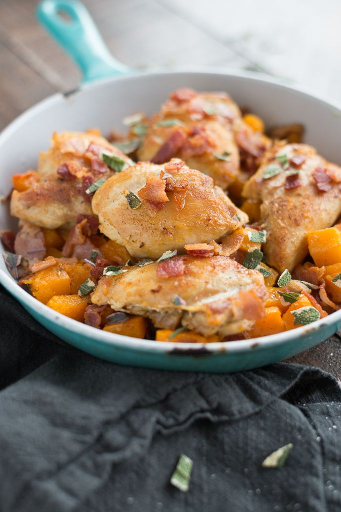 One skillet chicken thighs with butternut squash. Perfect weeknight meal that's delicious & easy clean up!
