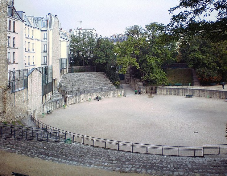 Arènes de Lutèce, Paris--a great place to chill on a hot day. Built by the Romans in the 1st century AD in what is now the Quartier Latin, this amphitheater could seat 15,000 people, and was used to present gladiatorial combats.