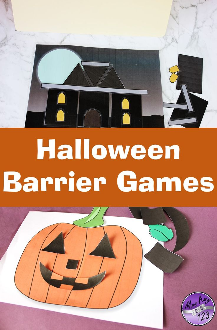 Find four different barrier games in this Halloween themed pack