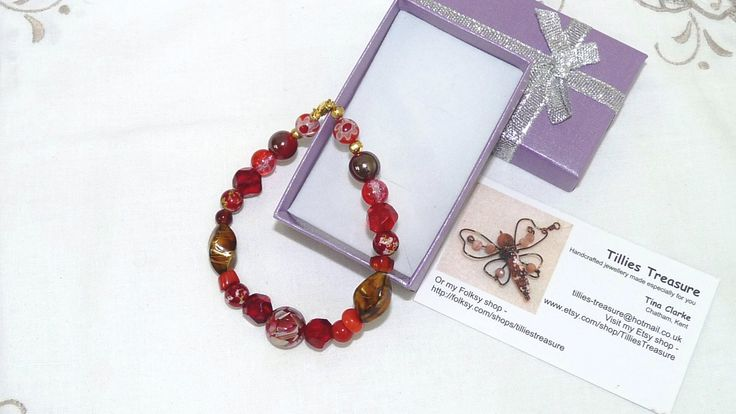 Excited to share the latest addition to my #etsy shop: Beaded Bracelet, Lampwork Beads, Red and Gold Bracelet, Gold Plated Clasp, Bead Mix, Handmade, 8 inches long, Plus Size, Medium/Large Wrists #bracelet #birthday #jewellery