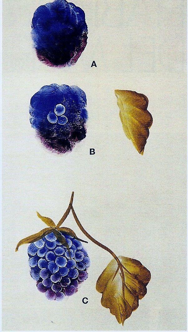 Moras y hojas./ One stroke painting