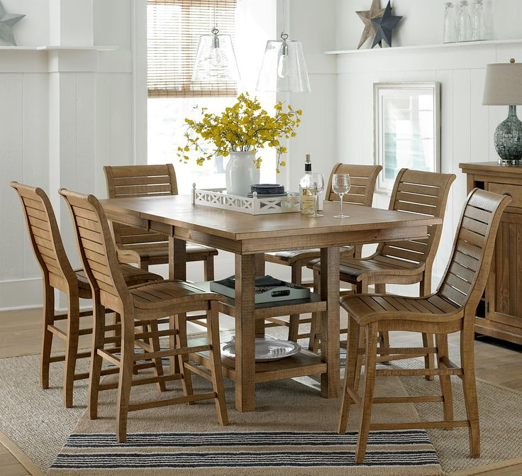 7 Piece Rectangular Counter Height Table Set Willow Dining By Progressive Furniture Wilcox