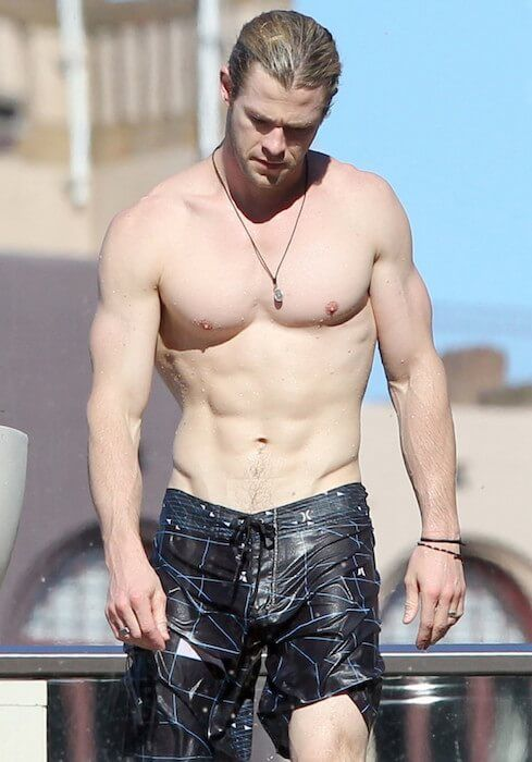 Chris Hemsworth shirtless body...