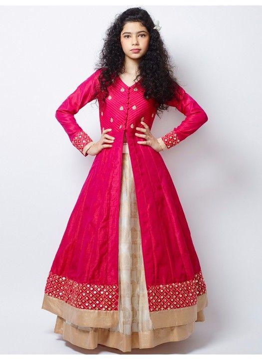 New Cream and Hot Pink Long Sleeve Indo Western Lehenga Choli #LehengaCholi