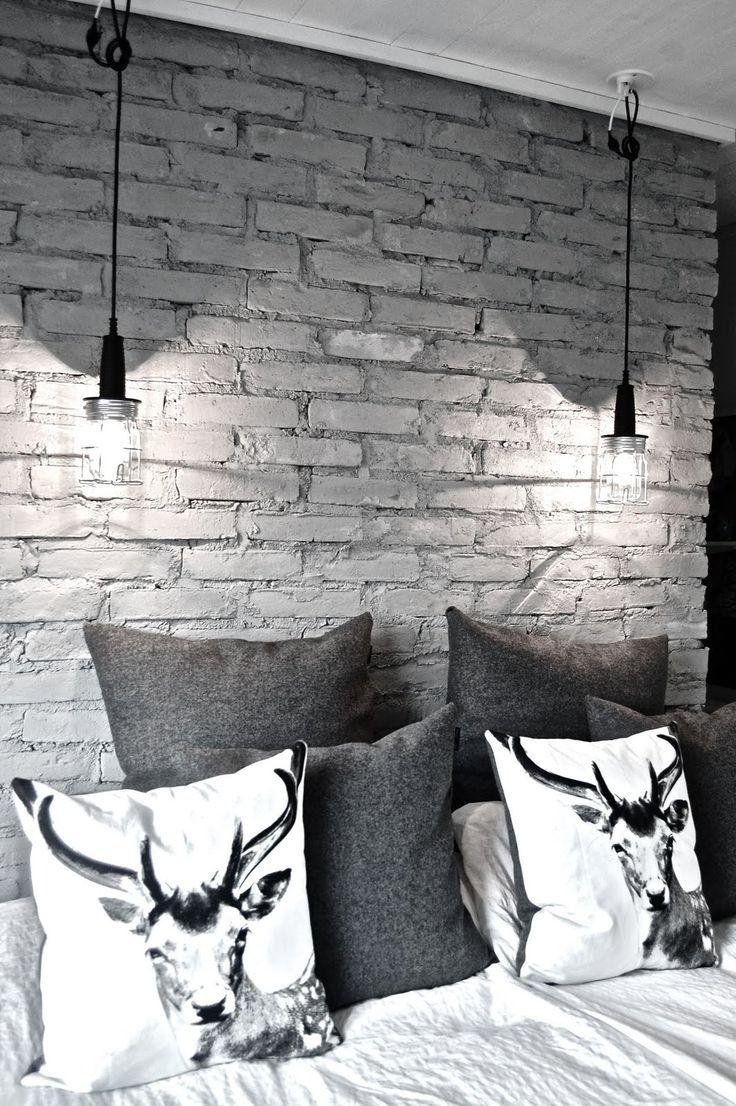 16 Beautiful Exposed Brick Wall Bedroom Ideas Stylish Exposed Brick Wall Bedroom Design With Animal