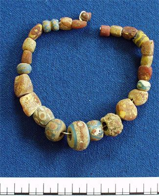 Anglo-Saxon Beads (AN1921.1119)  Found in grave 19 of the Standlake Anglo-Saxon cemetery.