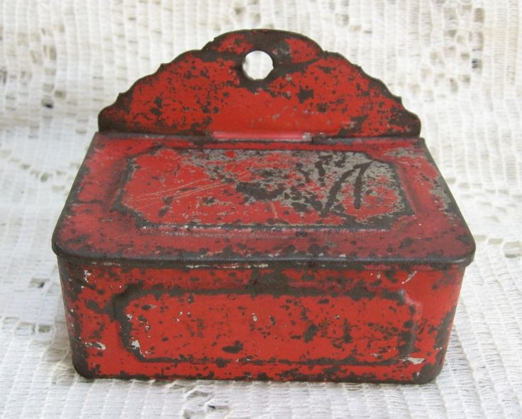 Primitive Tin Wall Hanging Match Box with original Red Paint