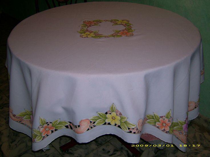 Mantel de flores pinceladas y pintura en tela for Manteles individuales de tela