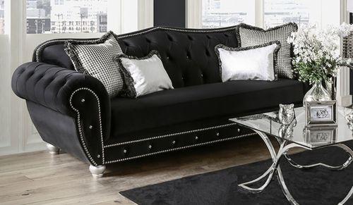 Furniture of America Negrini Black Velvet Sofa CM2295-SF