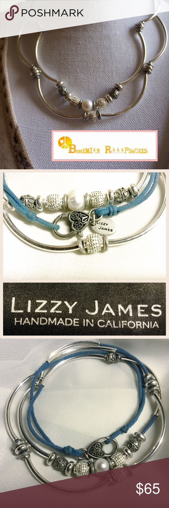 "Lizzy James ""Kristy"" 2 Strand Necklace/Bracelet Romantic and elegant versatile piece from Lizzy James.  Features 2 cotton blue strands, beaded with silverplate crescents and beads with a freshwater pearl as its focal point. Handmade in the USA. Comes with Lizzy James jewelry bag. Length of this convertible piece is 19"". Lizzy James Jewelry"