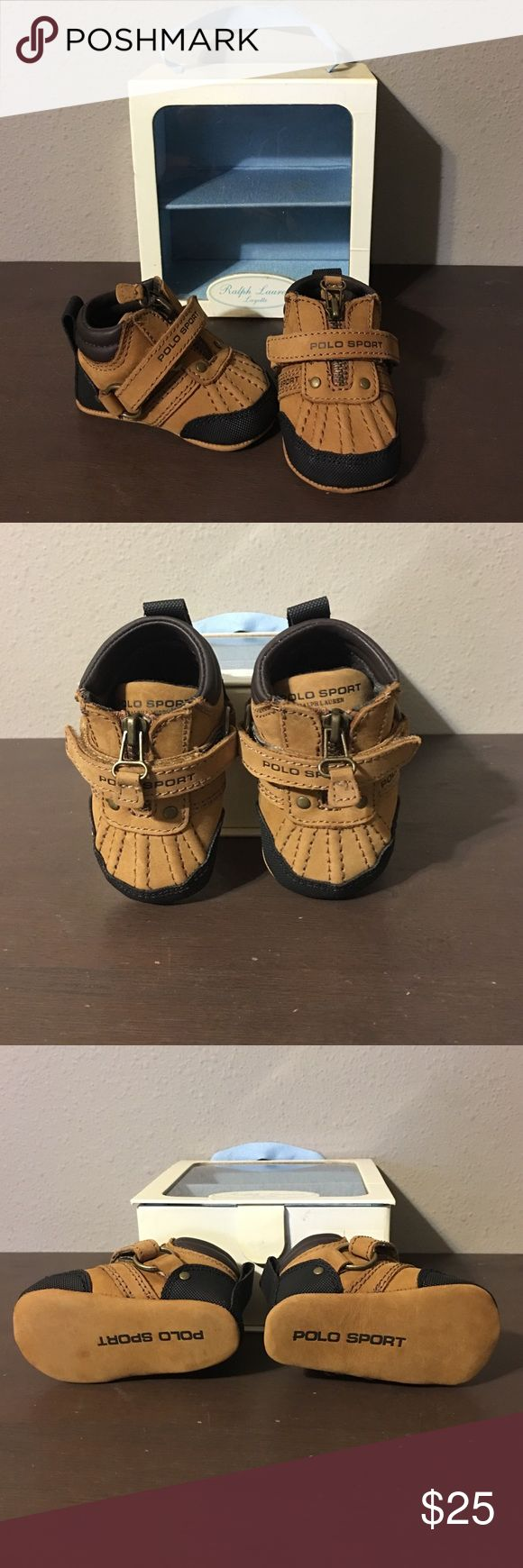 Polo Sport Ralph Lauren Baby Shoes Oh my goodness, I cannot get over how adorable these are! Precious Polo Sport leather shoes. Brand new in the little blue lined layette box. Size 1, 6 weeks-3 months Polo by Ralph Lauren Shoes Baby & Walker