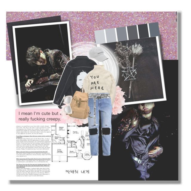 """""""«With my rap my tongue technology»  «Min Yoongi»"""" by parkeunseo on Polyvore featuring Ann Demeulemeester, Chicnova Fashion, Off-White, Balenciaga, Le Specs Luxe, bts, Suga, min and yoongi"""