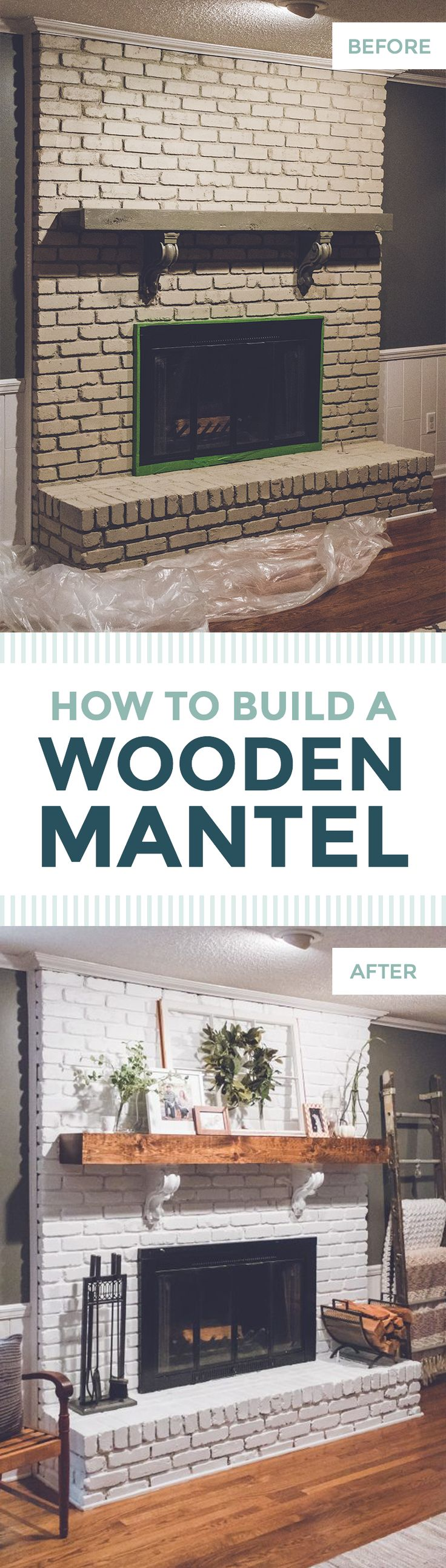 How to Build a Wooden Mantel | Easy, Simple, DIY Faux Wood Beam Mantle | Farmhouse-style white brick fireplace with old window, wreath, corbels, beautiful greenery, and natural wood | Before and After of Wooden Mantel and Brick Fireplace