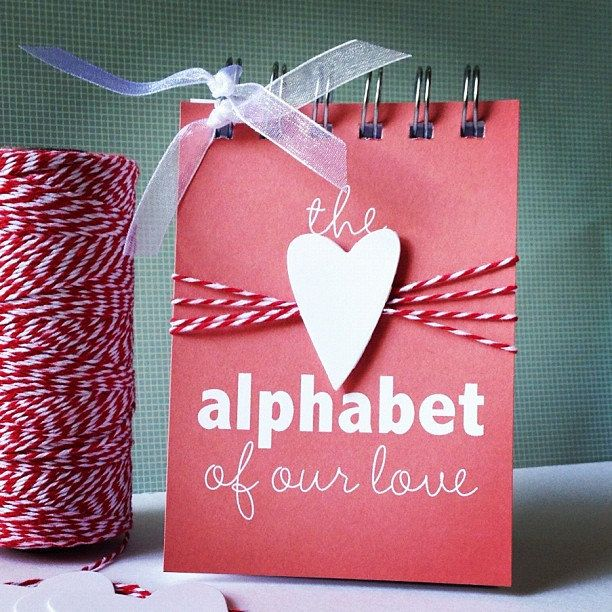 Would be a great Valentine's Day DIY ---- Alphabet of Our Love . Valentine Wedding Engagement Marriage Anniversary Deployment Birthday Card Gift // Mini Album // ABC ABCs Him Her. $30.00, via Etsy.