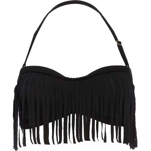 River Island Black fringed bandeau bikini top ($10) ❤ liked on Polyvore featuring swimwear, bikinis, bikini tops, swimsuit, sale, fringe bathing suit bikini, fringe swimwear, fringe swimsuit bikini, fringe bikini top and bandeau bathing suit top